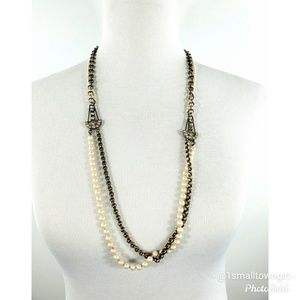 J. Crew Jewelry - J. Crew anchors pearls and chains necklace 16 1/2""